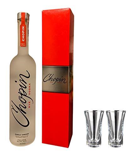 Geschenkidee Chopin Rye im Geschenkkarton + 2 hochwertige Gläser   Polnischer Qualitätswodka   0,7 Liter, 40% Alkoholgehalt - (55,64€/Liter)