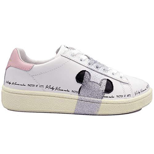 MOA Master of Arts MD402 Damen Disney Mickey Sportive Schuhe aus Leder Weiß Rosa Silber Fashion Comode, Weiß - Bianco - Größe: 38 EU
