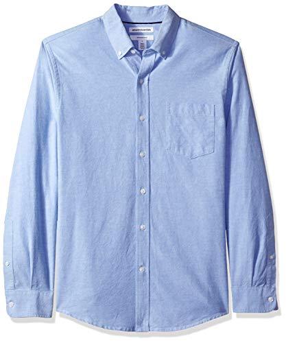 Amazon Essentials – Camisa Oxford de manga larga de corte entallado para hombre, Azul (Blue Blu), US S (EU S)