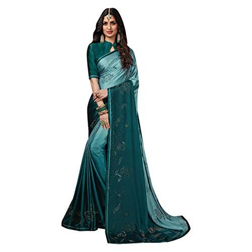 ETHNIC EMPORIUM dames teal groen noble satijn Swarovski steen werk saree mooie blouse sari Indiase mode-vrouwen-partij formele 8112 6,25 m zoals getoond