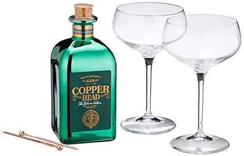 Copperhead London Dry Gin inklusiv 2 Martinigläsern (1 x 0.5 l)