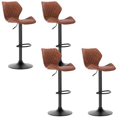 WOLTU Barhocker 4er Set Barstuhl Bistrostuhl Designer Hocker Tresenstuhl mit Rückenlehne, stufenlose Höhenverstellung, Gestell aus Stahl, Sitzfläche aus Kunstleder, Antiklederoptik, Braun, BH96br-4