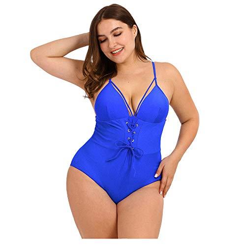 Aiserkly Übergröße Bademode Damen Sexy V-Ausschnitt Einteiliger Badeanzug Drucken Bandage Monokini One Piece Bikini Strandbikini Blau L