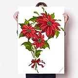 DIYthinker Fleur de Noël Poinsettia Bouquet Rouge Vinyle Autocollant de Mur Poster Mural Wallpaper Chambre Decal 80X55Cm 80cm x 55cm Multicolor