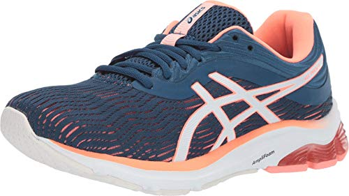 ASICS Women's Gel-Pulse 11 (D) Running Shoes, 7W, MAKO Blue/Sun Coral
