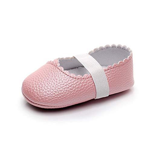 XYAN Mädchen Babyschuhe weiche Gummi Bottom Anti-Rutsch-Spitze Tanzschuhe PU-Reine Farben-elastisches Seil Slip On (Farbe : Pink, Size : 12cm)