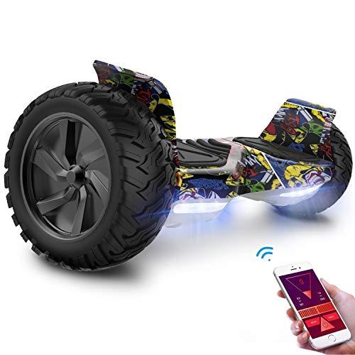 GeekMe Hoverboard Scooter Elettrico Fuoristrada Scooter Auto bilanciamento con Potente Motore LED luci Bluetooth App per Adulti e Bambini. 8,5 Pollici