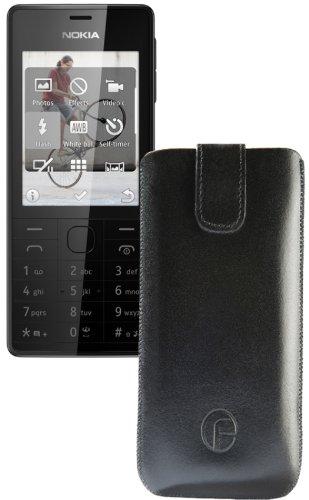 Original Favory Etui Tasche für / Nokia 515 / Leder Etui Handytasche Ledertasche Schutzhülle Hülle Hülle Lasche mit Rückzugfunktion* in Schwarz