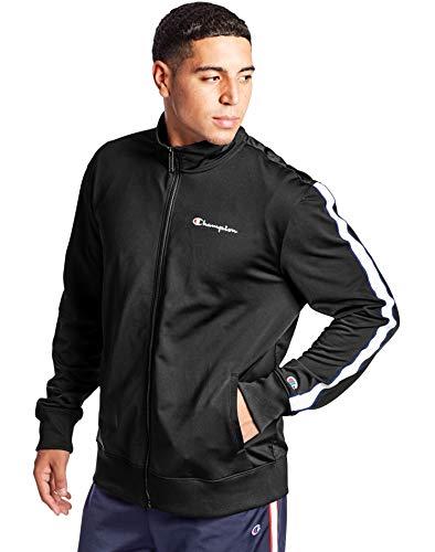 Champion Men's Track Jacket, Black/SURF The Web, Large
