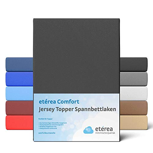 etérea Extra Jersey Topper Baumwolle Spannbettlaken Spannbetttuch Farbe Schwarz, in der Größe 90x200-100x220 cm