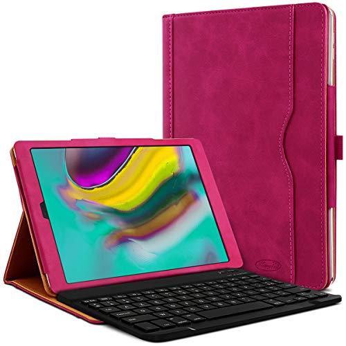 KARYLAX - Funda de protección y modo soporte horizontal, color rosa fucsia con teclado francés Azerty Connection Bluetooth para tablet Samsung Galaxy Tab A7 10.4