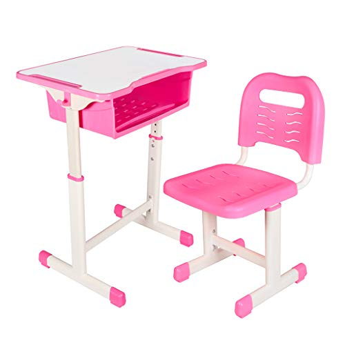 Kids Desk and Chair Set Height Adjustable Ergonomic Children Sturdy Table, Childs Study School Desk Kids Art Writing Desk (Pink)