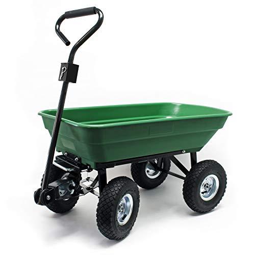 Chariot de jardin à main avec Benne basculante Volume 125L Capacité 350Kg Remorque Brouette