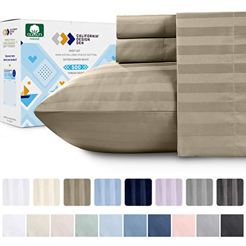 Premium Quality 500 Thread Count 100% Pure Cotton Sheets - 4Piece Khaki Color Queen Size Damask Stripe Extra Long-Staple Combed Cotton Sheet Set for Bed Fits Mattress 16'' Deep Pocket, Sateen Set