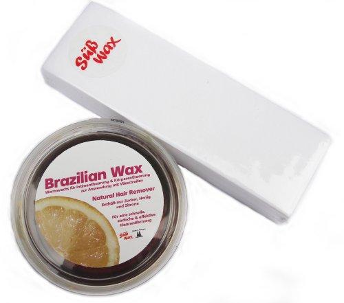 400g Süß Wax Brazilian Wax zur Enthaarung mit Vlies 100% Natürlich. Warmwachs aus Zucker, Honig und Zitrone. Bikini Wax Sugaring Zuckerpaste + 49 Vliesstreifen