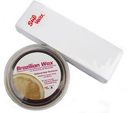 400g Süß Wax,cire au sucre bresilienne,maillot bresilien, pour epilation polaire 100% naturelle + 49 bandes de molleton