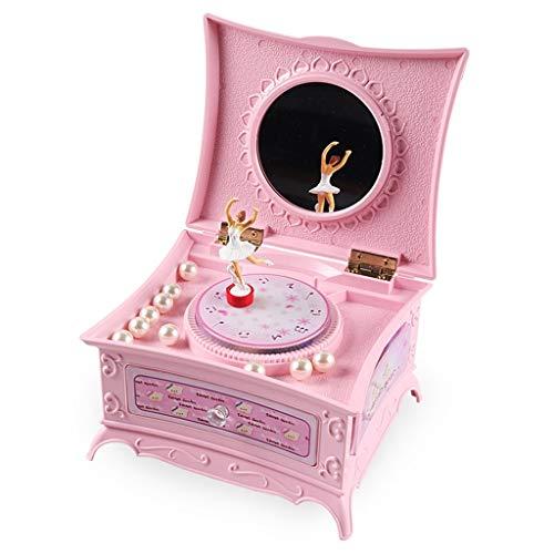 QIAOLI Caja de música de madera Windup para niñas, con cajón y juego de joyas con luces LED, caja de música bailarina, araña, juguete musical