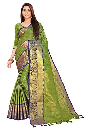 Aurika Fashion Women's Banarasi Cotton Silk Saree With Blouse Piece