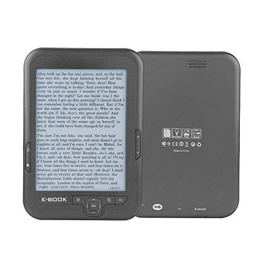 E-Reader da 6 ', schermo d'inchiostro E-Ink HD 300DPI 800x600 Lettore FM E-BOOK con zoom carattere/Trasformazione carattere/Segnalibro/Salta pagina/Leggi ad alta voce/Orologio/Dizionario(Grigio / 8G)