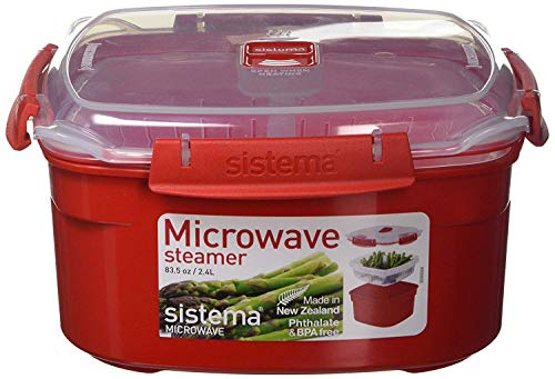 Sistema Microwave Collection Steamer, Medium, 83.5 oz./2.4 L, Red