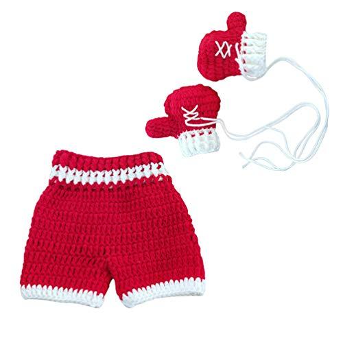LUOEM Baby Foto Prop Outfits Kleinkind Gestrickt Handschuhe Neugeborene Fotografie Prop Säugling Fotografie Requisiten (Rot)