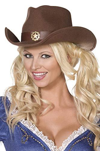 Fever Wilder Westen Cowboy-Hut Braun Filz mit goldenem Stern verziert, One Size