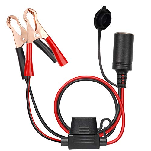 Vemote 5Ft 16AWG 12V/ 24V Extension Cord Plug Socket Adapter with Battery Clamps Battery Clip-On Car Cigarette Lighter Adapter Cable with 15A Fuse