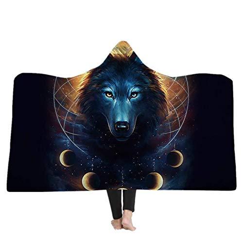 LXCD Starry Sky Wolf Hoodie Manta Manta de Gran tamaño Manta 3D Sudadera con Capucha Sudadera Manta Adolescente de los Hombres Suéter patternD-130 * 150