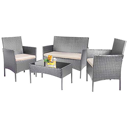 KaiMeng Patio Furniture Sets Outdoor 4 Pieces Indoor Use Conversation Sets Rattan Wicker Chair with Table Backyard Lawn Porch Garden Poolside Balcony Furniture (Sliver)