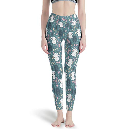 LL·Shawn Pantalones de yoga para mujer, diseño de conejos de Pascua, flores silvestres polainas Depot High Leggings - Leggings para mujer Sport Gym white3 s