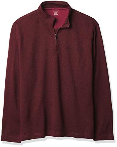 Van Heusen Men's Big & Tall Big Flex Long Sleeve 1/4 Zip Soft Sweater Fleece, Deep Raisin, X-Large Tall