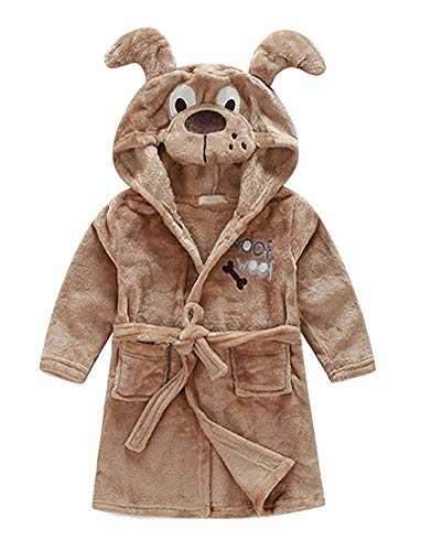 Little Boys Girls Bathrobes,Toddler Kids Cartoon Hooded Plush Robe,Animal Pajamas Fleece Bathrobe for Kids (2T, Dog)