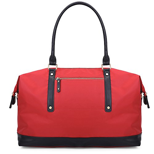 ECOSUSI Duffel Bag Weekender Overnight Bag Large Travel Tote Shoulder Bag with Trolley Sleeve for Men & Women, Red