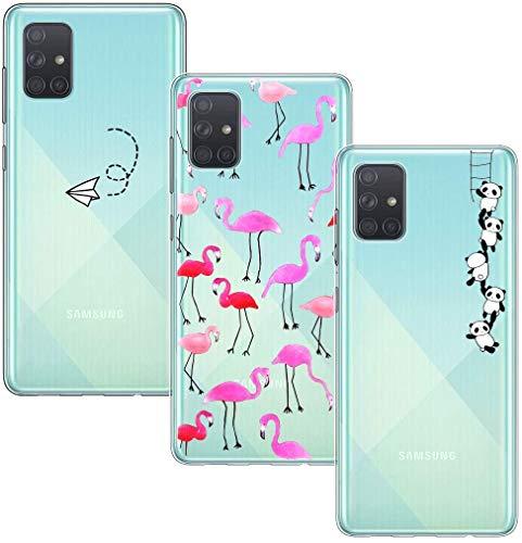 Yoowei [3-Pack] Funda para Samsung Galaxy A71, Transparente con Dibujos Ultra Fino Suave TPU Silicona Protector Carcasa para Samsung Galaxy A71 (Flor de Cerezo + Flor Blanca + Diente de León)