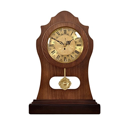 JCOCO Horloge de Bureau européenne, Salon, décoration de Chambre à Coucher, Bois Massif, créatif, Silencieux, Vieille Horloge de Table, horloges (Couleur : G)