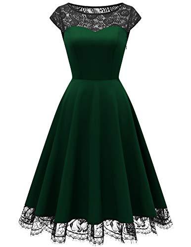 HomRain 1950er Elegant Spitzenkleid Rundhals festlich Brautjungfern Damen Cocktailkleider Abendkleid für Hochzeit Partykleid Dark Green L