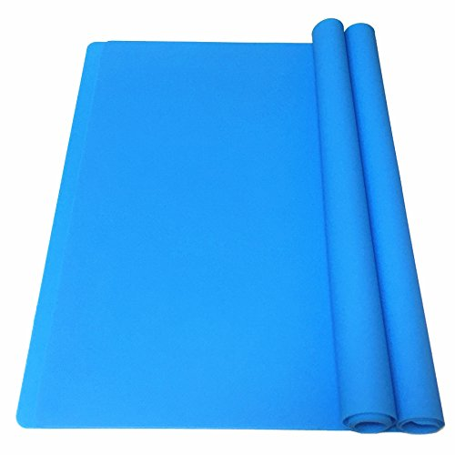 EPHome 2Pack Extra Large Multipurpose Silicone Nonstick Clay Mat, Heat Resistant Nonskid Counter Mat, Table Mat, 23.6''x15.75'' (Blue)