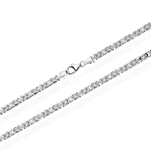 NKlaus Königskette 3,9mm Silberkette 925 Sterlingsilber vierkant massive Herrenkette 60cm 3455