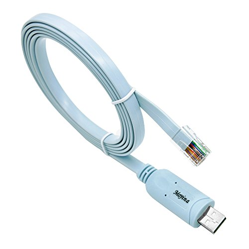USB Console Cable USB to RJ45 Cable Essential Accesory of Cisco, NETGEAR, Ubiquity, LINKSYS, TP-Link Routers/Switches for Laptops in Windows, Mac, Linux (Blue)