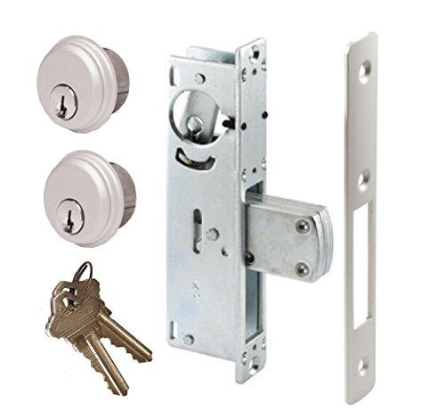 "Pacific Doorware AR Rite Style Door Lock Mortise Deadbolt & Double Keyed Cylinder Set, in Aluminum (1-1/8"" Backset)"