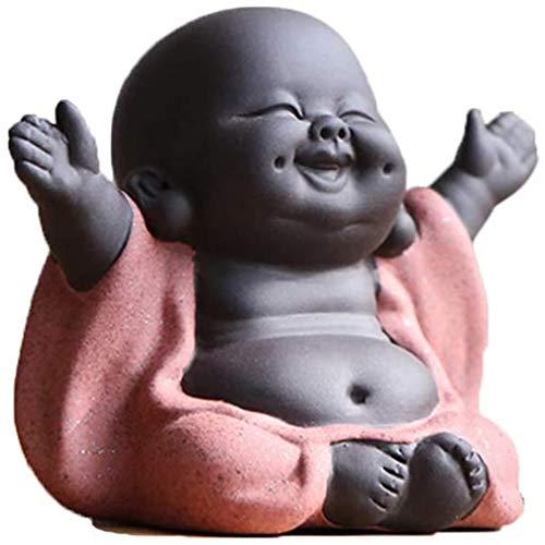 Buddha Statue Ceramic Arts and Crafts - Buddha Statue Little - Buddha Statue Baby - Buddha Statue Monk Figurine - Home Decor Car Decor - Laughing Buddha Statue
