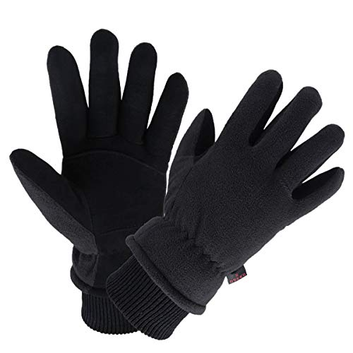 Thermal Gloves Deerskin Leather Winter Warm Glove Insulated Fleece for Snow Skiing Driving Cycling Hiking Runing Hand Warmer in Cold Weather for Men and Women Small Black