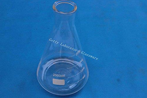 2000ml matraz de cónico, erlenmeyer, con boca ancha, cristal de borosilicato 3.3