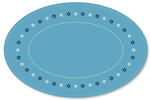 Clearstory Menorah Mat Made Of Premium Card Stock, Works Like A Hannukah Drip Tray To Catch Candle Wax Drips, Oval Mat Bordered By Classic Chanukkah Icons Like Star Of David (17x11 Inches, sky blue)