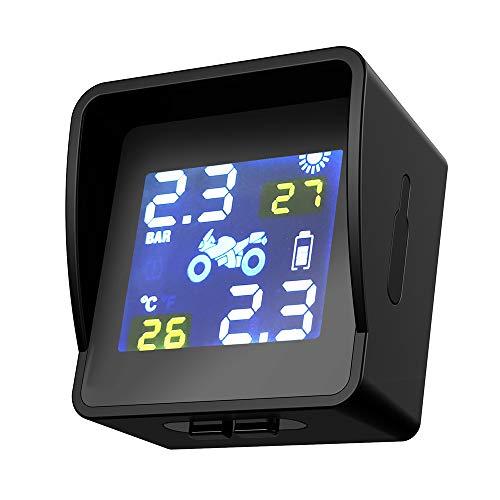Tickas Reifendruckkontrolle,Solar W-ireless Reifendruckkontrollsystem für Motorräder LCD Intelligent External Sensor Realtime Monitor
