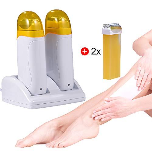 Epilierer, Mini-Maschine für Depilation Enthaarungswalze Heißwachs-Heizung für Männer und Frauen Körperdepilation + Wachspatrone + Wachspapier
