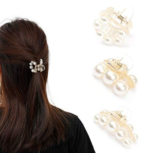 Runmi Haarklammern Perlen Haarspangen Haarspangen Kristall Haarklammern Haarschmuck für Frauen und Mädchen (2 Stück) (B)