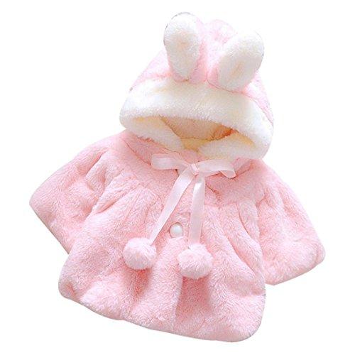 Hirolan Baby Säugling Mädchen Herbst Winter Mit Kapuze Mantel Mantel Jacke Dick Warm Kleider DREI Quartal Hülse,Seide Band und Ball Baumwolle (80cm, Rosa)