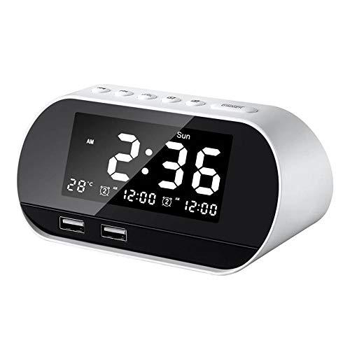 Scra AC Uhr mit USB-Ladung, intelligenter kabelloser Funk-Alarm, LCD-Temperaturanzeige, 13 cm x 7,1 cm x 6,2 cm (Farbe: Weiß).