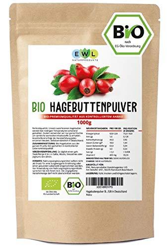 Hagebuttenpulver Bio 1kg Bio Hagebuttenpulver | Ganze gemahlene Hagebutte | Hagebuttenpulver aus kontrolliertem Anbau | Rohkostqualität | Kontrolliert und abgefüllt in Deutschland